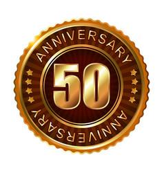 50 years anniversary golden brown label vector