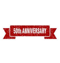50th anniversary ribbon 50th anniversary grunge vector