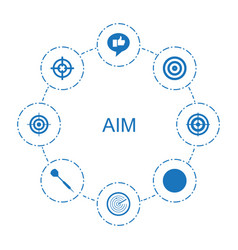 8 aim icons vector
