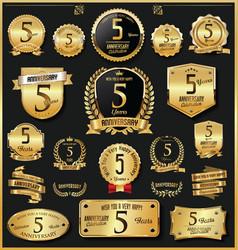 anniversary retro vintage golden badges vector image