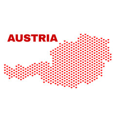 austria map - mosaic of valentine hearts vector image