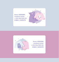 Baby clothing business card cartoon kids clothes vector