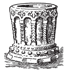 baptismal font at claverly vintage vector image