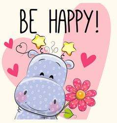 Be happy greeting card with hippo vector