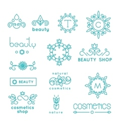Beauty shop cosmetic industry linear icons vector image