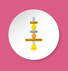 Bird hanging toy with bell in flat style vector
