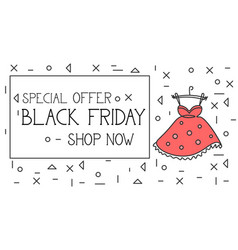 Black friday special offer banner shop now text vector