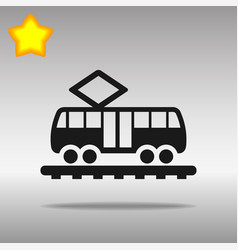 black tram icon button logo symbol concept high vector image