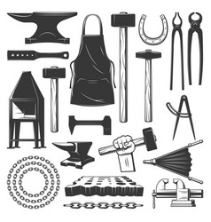 Blacksmithing ironworks and forging tools icons vector