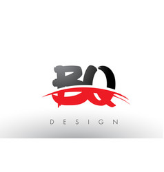 Bq b q brush logo letters with red and black vector