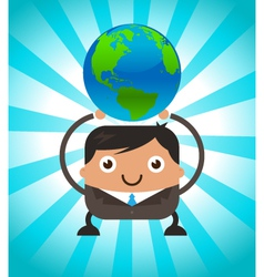 Business Man Holding Planet Earth vector