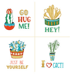 cacti succulents and hand-written lettering vector image