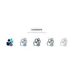 Candidate icon in different style two colored vector