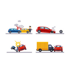 Car accidents and crash set flat vector