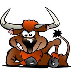 Cartoon a angry bull vector
