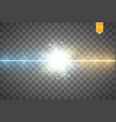 Collision two forces with gold and blue light vector