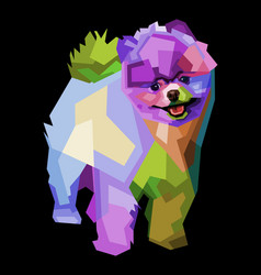Colorful cute puppy on pop art style vector