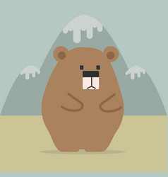 cute bear with mountain vector image