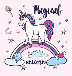 Cute unicorn greeting card magical unicorn vector