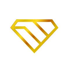 diamond stacked golden wealth symbol logo design vector image