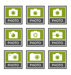 digital camera signs and icons set in vector image