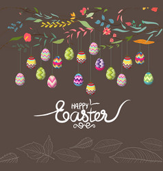 easter eggs background with flowers vector image