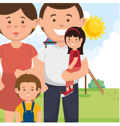 family members on park characters vector image