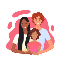 Family people with multi race parent hugging child vector