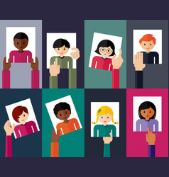 flat of young people vector image