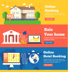 flat set of social business travel online banking vector image