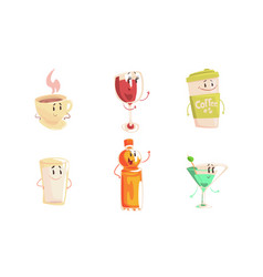 Funny drinks cartoon characters collection tea vector