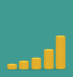 gold coin stacks icon in shape diagram dollar vector image