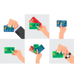 Hand holding credit card isolated vector