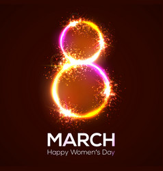happy womens day 8 march in neon circle with glow vector image