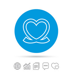 Heart ribbon sign icon love symbol vector