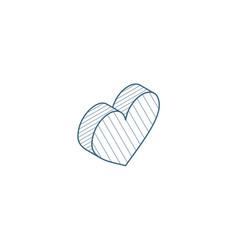 heart shape isometric icon 3d line art technical vector image