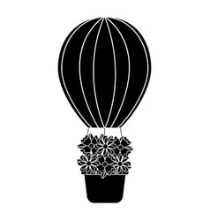 hot air balloon with flowers icon imag vector image
