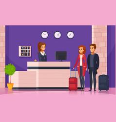 Hotel reception cartoon background vector