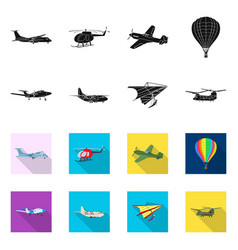Isolated object of plane and transport symbol vector