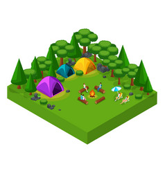 isometric landscape of rest friends at the weeken vector image