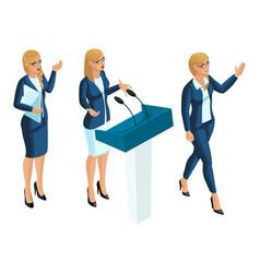 Isometrics business woman presenter journalist vector
