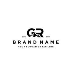 Letter gr mountain logo design vector