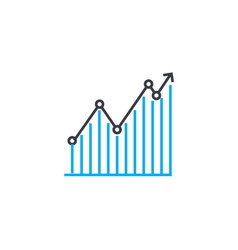 line chart 53 thin line stroke icon line vector image