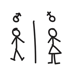 Line hand drawing of man and woman vector image