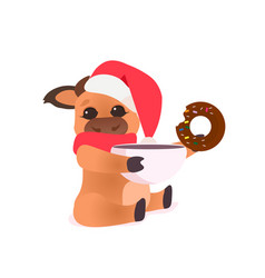 little ox in santa hat holding happy new year 2021 vector image