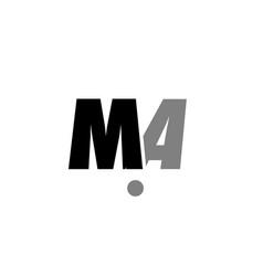 ma m a black white grey alphabet letter logo icon vector image