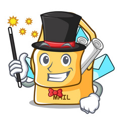 Magician mail bag character on table front vector