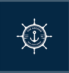Marine retro emblems logo with anchor and ship vector