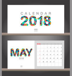 may 2018 calendar desk calendar modern design vector image