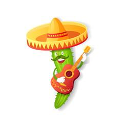 mexican cuctus in sombrero guitar and mustache vector image